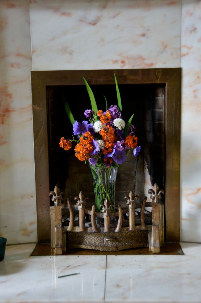 vase in a fireplace